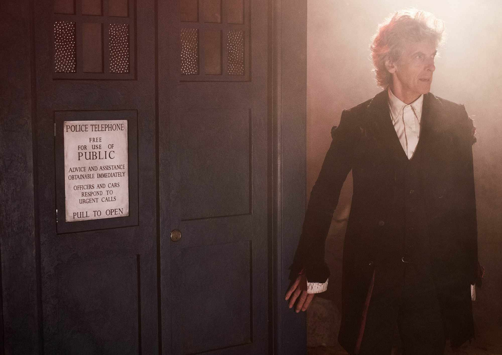 Peter Capaldi outside the Tardis in Doctor Who