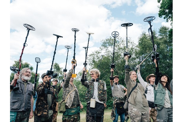 Programme Name: Detectorists series 3 - TX: n/a - Episode: n/a (No. n/a) - Picture Shows: Russell (PEARCE QUIGLEY), Hugh (DIVIAN LADWA), Paul (PAUL CASAR), Art (SIMON FARNABY), Louise (LAURA CHECKLEY), Varde (ORION BEN) - (C) Channel X - Photographer: Chris Harris