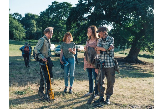 Programme Name: Detectorists series 3 - TX: n/a - Episode: n/a (No. n/a) - Picture Shows: Lance (TOBY JONES), Toni (REBECCA CALLARD), Becky (RACHAEL STIRLING), Andy (MACKENZIE CROOK) - (C) Channel X - Photographer: Chris Harris