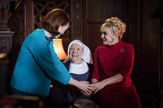 Nurse Barbara Hereward (CHARLOTTE RITCHIE), Sister Monica Joan (JUDY PARFITT), Nurse Trixie Franklin (HELEN GEORGE) in the Call the Midwife 2017 Christmas special (BBC Pictures, JG)