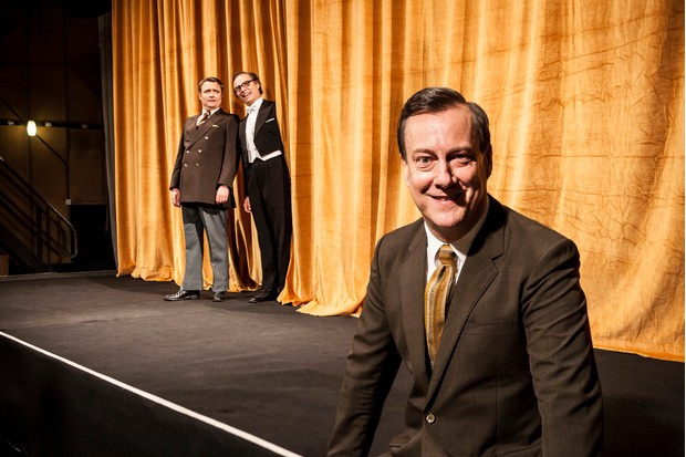 Programme Name: Eric, Ernie and Me - TX: n/a - Episode: n/a (No. n/a) - Picture Shows: ***STRICTLY EMBARGOED UNTIL 28th NOVEMBER 2017*** Ernie Wise (NEIL MASKELL), Eric Morecambe (MARK BONNAR), Eddie Braben (STEPHEN TOMPKINSON) - (C) Objective Fiction - Photographer: Emilie Sandy (BBC, TL)
