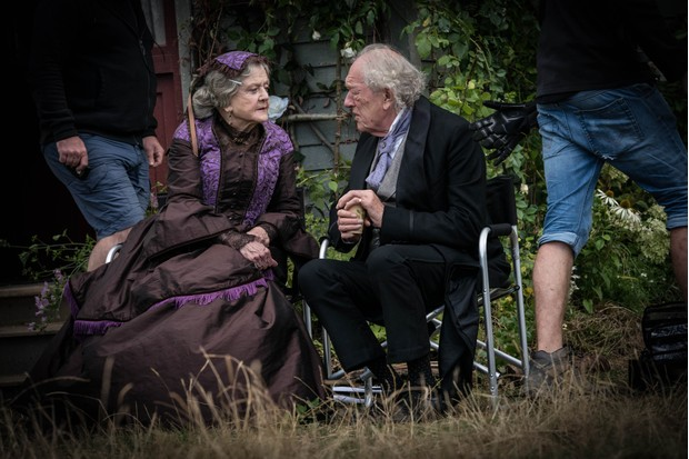 Lansbury (Aunt March) and Michael Gambon (Mr Laurence) on the set of Little Women (BBC, TL)