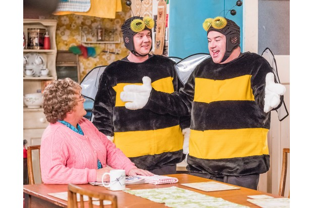 Programme Name: Mrs Brown's Boys Christmas and New Year Special 2017 - TX: n/a - Episode: n/a (No. n/a) - Picture Shows: *STRICTLY EMBARGOED UNTIL SATURDAY 9TH DECEMBER 00:01HR** (L-R) Mrs Brown (BRENDAN O'CARROLL), Buster Brady (DANNY O'CARROLL), Dermot Brown (PADDY HOULIHAN) - (C) BBC Studios - Photographer: Alan Peebles (BBC, TL)