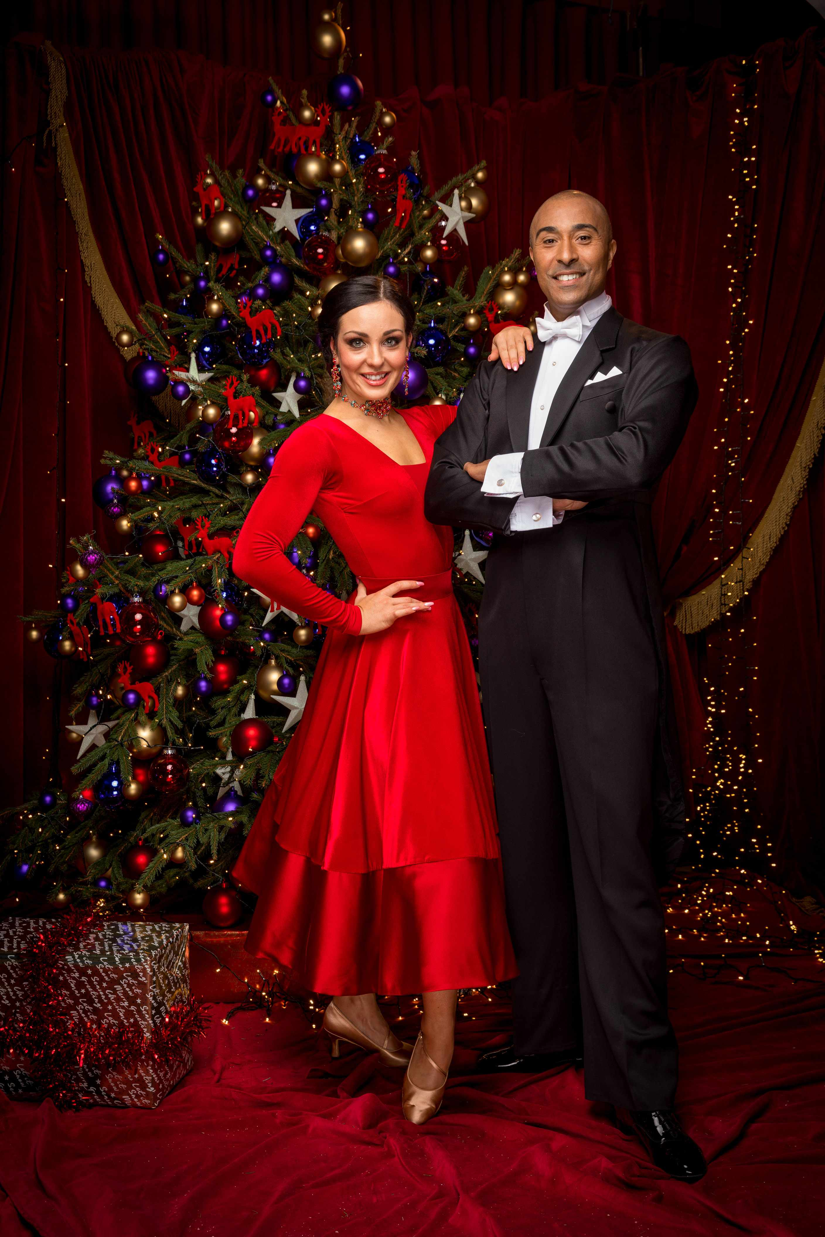 WARNING: Embargoed for publication until 00:00:01 on 09/12/2017 - Programme Name: Strictly Come Dancing Christmas Special 2017 - TX: n/a - Episode: Strictly Come Dancing Christmas Special 2017 (No. n/a) - Picture Shows: **EMBARGOED FOR PUBLICATION UNTIL 00:00 HRS ON SATURDAY 9TH DECEMBER 2017** Amy Dowden, Colin Jackson - (C) BBC - Photographer: Guy Levy (BBC, TL)