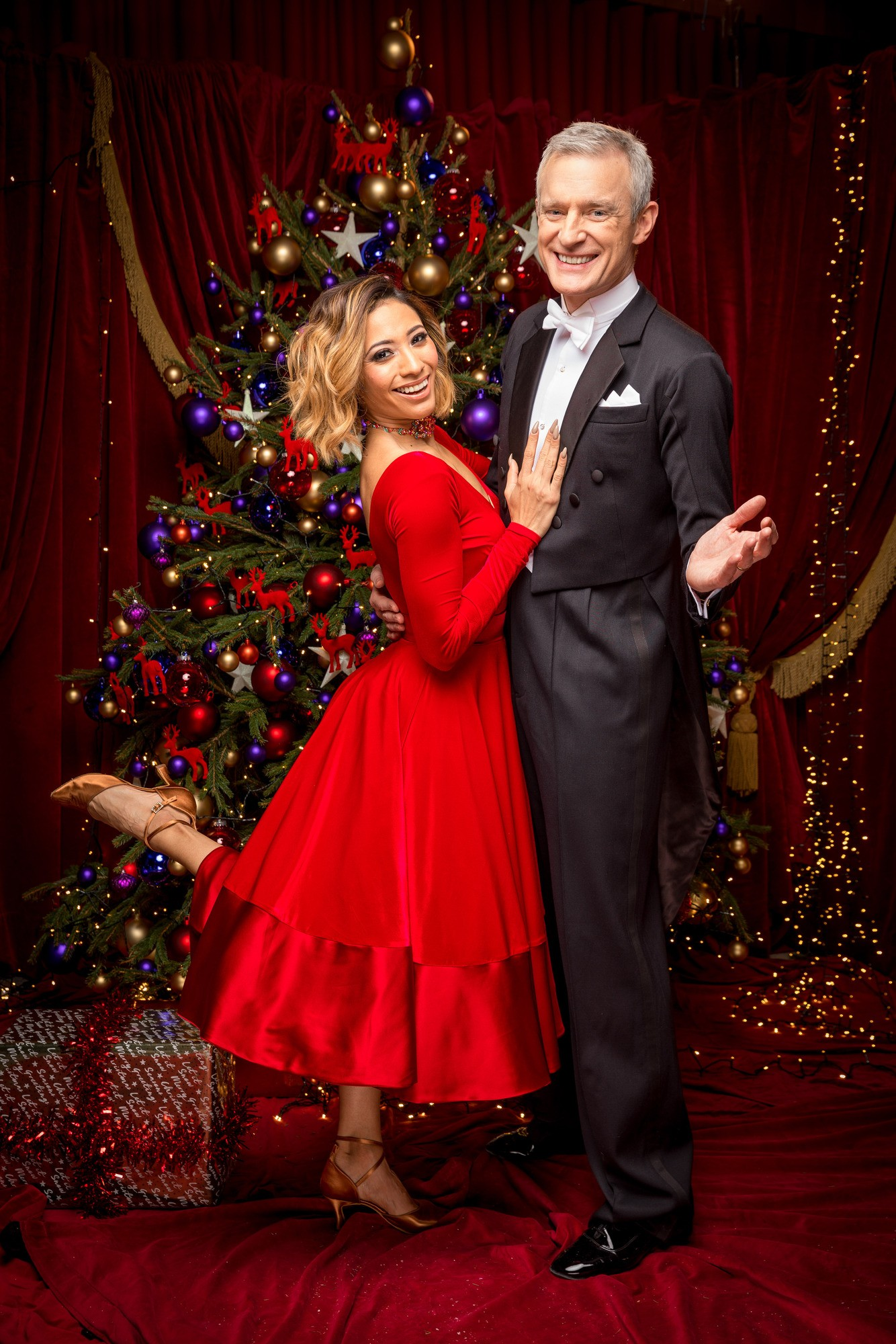 WARNING: Embargoed for publication until 00:00:01 on 09/12/2017 - Programme Name: Strictly Come Dancing Christmas Special 2017 - TX: n/a - Episode: Strictly Come Dancing Christmas Special 2017 (No. n/a) - Picture Shows: **EMBARGOED FOR PUBLICATION UNTIL 00:00 HRS ON SATURDAY 9TH DECEMBER 2017** Karen Clifton, Jeremy Vine - (C) BBC - Photographer: Guy Levy (BBC, TL)