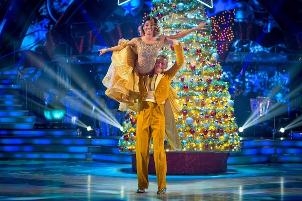 WARNING: Embargoed for publication until 00:00:01 on 09/12/2017 - Programme Name: Strictly Come Dancing Christmas Special 2017 - TX: n/a - Episode: Strictly Come Dancing Christmas Special 2017 (No. n/a) - Picture Shows: *STRICTLY NOT FOR PUBLICATION UNTIL 00:01HRS, SATURDAY 9TH DECEMBER, 2017* Karen Clifton, Jeremy Vine - (C) BBC - Photographer: Guy Levy (BBC, TL)