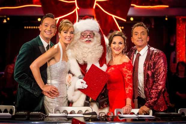 WARNING: Embargoed for publication until 00:00:01 on 09/12/2017 - Programme Name: Strictly Come Dancing Christmas Special 2017 - TX: n/a - Episode: Strictly Come Dancing Christmas Special 2017 (No. n/a) - Picture Shows: *STRICTLY NOT FOR PUBLICATION UNTIL 00:01HRS, SATURDAY 9TH DECEMBER, 2017* Craig Revel Horwood, Darcey Bussell, Father Christmas, Shirley Ballas, Bruno Tonioli - (C) BBC - Photographer: Guy Levy (BBC, TL)