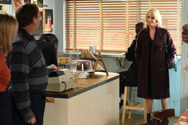WARNING: Embargoed for publication until 00:00:01 on 29/12/2017 - Programme Name: EastEnders -January-April 2018 - TX: 11/01/2018 - Episode: EastEnders - January-April 2018 - 5636 (No. 5636) - Picture Shows: *STRICTLY NOT FOR PUBLICATION UNTIL 00:01HRS FRIDAY 29th DECEMBER 2017*  Mel surprises Ian Kathy Beale (GILLIAN TAYLFORTH), Ian Beale (ADAM WOODYATT), Melanie Owen (TAMZIN OUTHWAITE) - (C) BBC - Photographer: Kieron McCarron