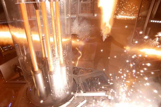 Peter Capaldi's Twelfth Doctor regenerating