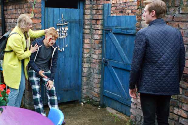 FROM ITV   STRICT EMBARGO  Print media - No Use Before  Tuesday 5th December 2017 Online Media -  No Use Before 0700hrs Tuesday 5th December 2017  Coronation Street - Ep 9327  Friday 15th December 2017 - 2nd Ep  Sinead Tinker [KATIE McGLYNN] is stunned when she finds Chesney Brown [SAM ASTON] with blood oozing out of his face Daniel Osbourne [ROB MALLARD] looming over him..   Picture contact - david.crook@itv.com  Photographer - Mark Bruce  This photograph is (C) ITV Plc and can only be reproduced for editorial purposes directly in connection with the programme or event mentioned above, or ITV plc. Once made available by ITV plc Picture Desk, this photograph can be reproduced once only up until the transmission [TX] date and no reproduction fee will be charged. Any subsequent usage may incur a fee. This photograph must not be manipulated [excluding basic cropping] in a manner which alters the visual appearance of the person photographed deemed detrimental or inappropriate by ITV plc Picture Desk. This photograph must not be syndicated to any other company, publication or website, or permanently archived, without the express written permission of ITV Plc Picture Desk. Full Terms and conditions are available on the website www.itvpictures.com