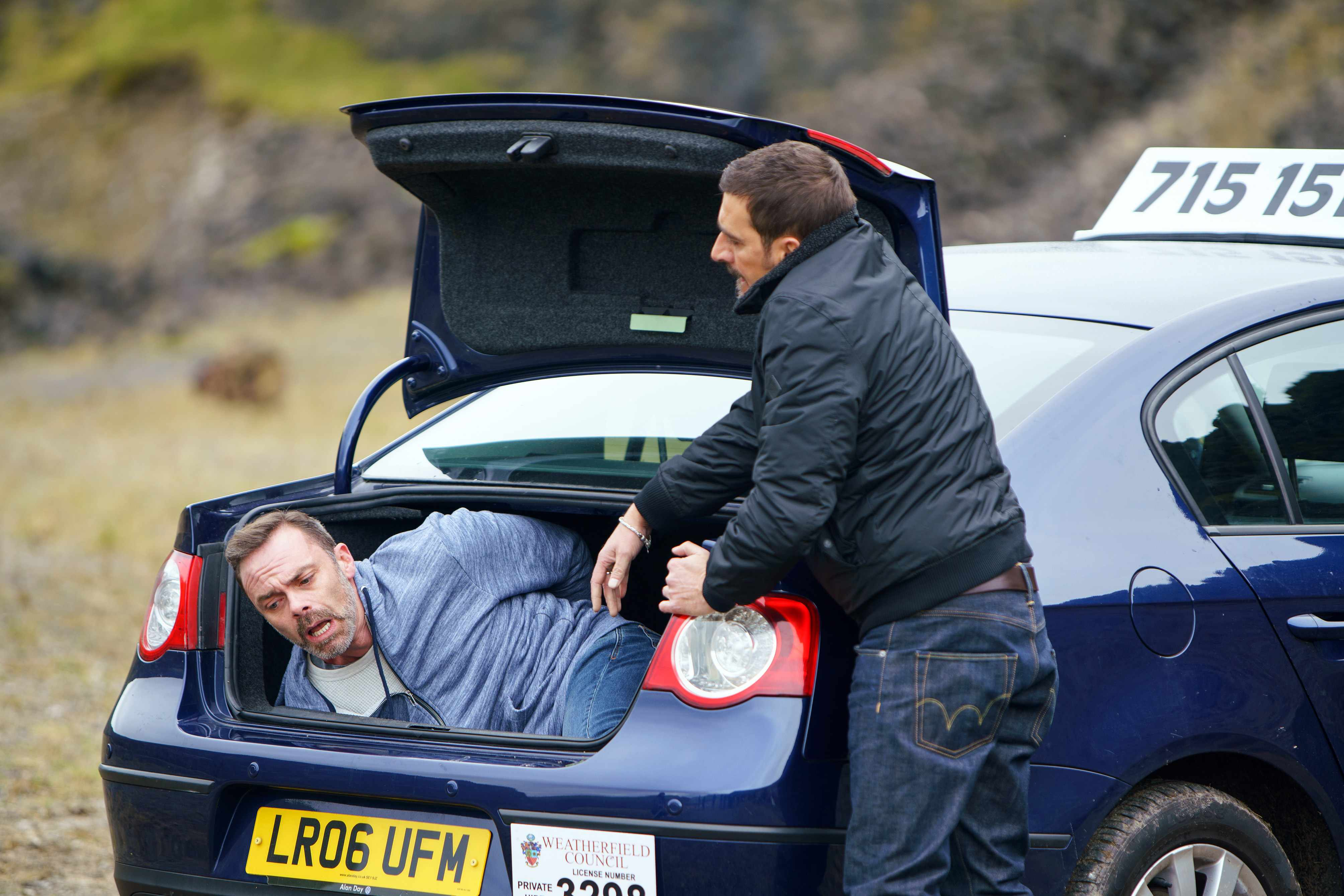 FROM ITV   STRICT EMBARGO  Print media - No Use Before Saturday 9th December 2017 Online Media -  No Use Before 0700hrs Saturday 9th December 2017  Coronation Street - Ep 933536  Monday 25th December 2017   Determined to take his revenge Peter Barlow [CHRIS GASCOYNE] has Billy Mayhew [DANIEL BROCKLEBANK] in the boot of his car on some waste ground where a frightened Billy prays. Peter reverses his car right up to the edge of a cliff and opens the boot. BillyÕs scared to see heÕs inches away from a sheer drop. Peter tells Billy heÕs going to let the car roll backwards off the cliff, at least his death will be quicker than it was for Susan.   Picture contact - david.crook@itv.com  Photographer - Mark Bruce  This photograph is (C) ITV Plc and can only be reproduced for editorial purposes directly in connection with the programme or event mentioned above, or ITV plc. Once made available by ITV plc Picture Desk, this photograph can be reproduced once only up until the transmission [TX] date and no reproduction fee will be charged. Any subsequent usage may incur a fee. This photograph must not be manipulated [excluding basic cropping] in a manner which alters the visual appearance of the person photographed deemed detrimental or inappropriate by ITV plc Picture Desk. This photograph must not be syndicated to any other company, publication or website, or permanently archived, without the express written permission of ITV Plc Picture Desk. Full Terms and conditions are available on the website www.itvpictures.com