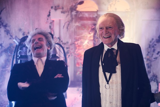 Peter Capaldi and David Bradley on the set of Doctor Who