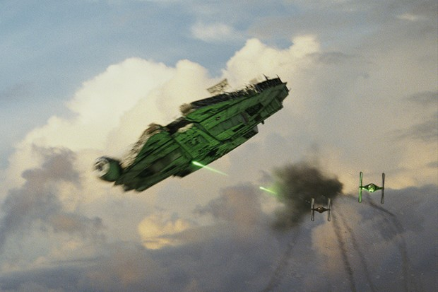 The Millennium Falcon in Star Wars: The Last Jedi (Lucasfilm, HF)