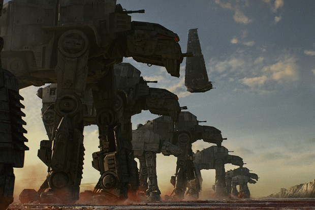 AT-M6 Walkers, along with Kylo's Shuttle in Star Wars: The Last Jedi (LucasFilm, HF)