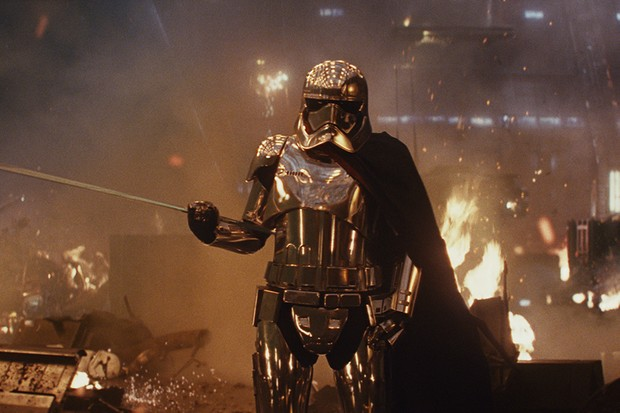 Gwendoline Christie as Captain Phasma in The Last Jedi (Lucasfilm, HF)