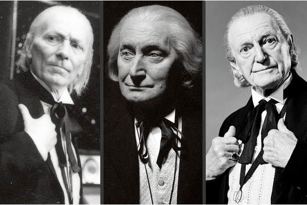 William Hartnell, Peter Cushing, Richard Hurndall and David Bradley as versions of the first Doctor