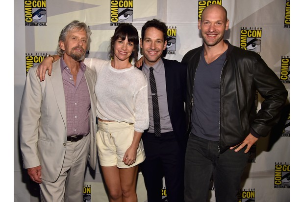 "SAN DIEGO, CA - JULY 26:  (L-R) Actors Michael Douglas, Evangeline Lilly, Paul Rudd and Corey Stoll attend Marvel's Hall H Panel for ""Ant-Man"" during Comic-Con International 2014 at San Diego Convention Center on July 26, 2014 in San Diego, California.  (Photo by Alberto E. Rodriguez/Getty Images for Disney, BA)"