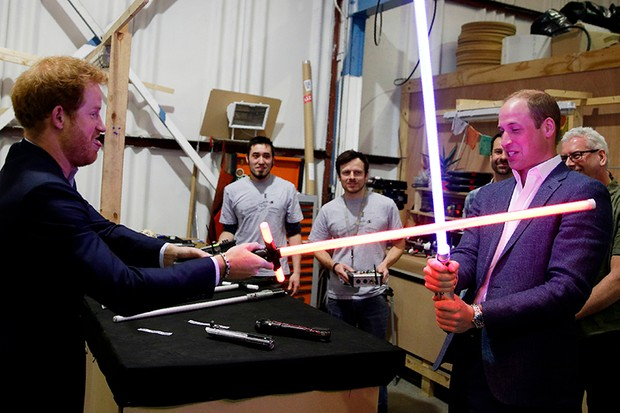 Prince Harry and Prince William on the set of Star Wars: The Last Jedi (Getty, HF)