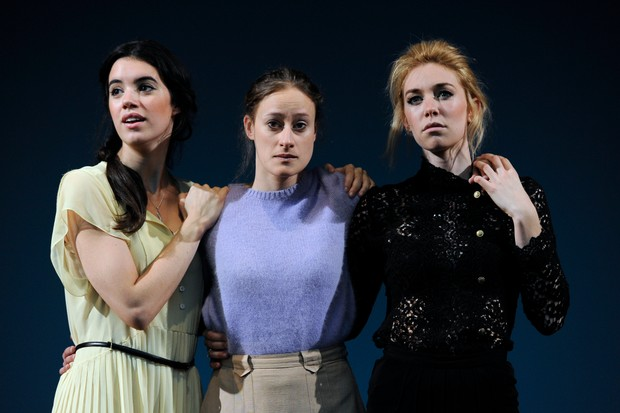 Gala Gordon as Irina, Mariah Gale as Olga and Vanessa Kirby as Masha in the production of Anton Chekhov's Three Sisters directed by Benedict Andrews at the Young Vic in London (Getty Images, TG)