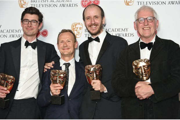 George Ormond, Marc Munden, Jack Thorne and John Chapman, winners of the Mini Series award for National Treasure (Getty, EH)