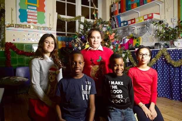 C4 Alternative Christmas Message speakers L- R Luana, Amiel, Megan, Danel and Hayam. C4 publicity still, BD