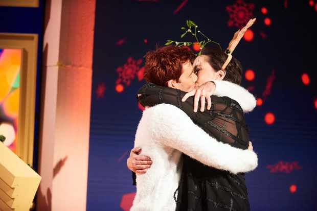 David Tennant snogs Miranda Hart in Channel 4 Christmas special Miranda Does Christmas (Channel 4, JG)