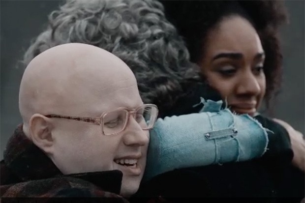 Nardole, Bill and the Doctor hugging