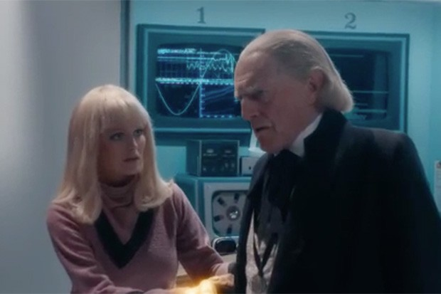Lily Travers as Polly and David Bradley as the Doctor in Doctor Who