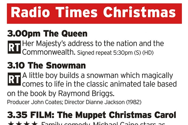 Radio Times Ultimate Christmas Day schedule