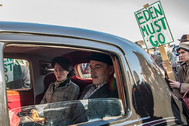 The Crown - Clarissa, Eden - Eden and his wife arrive at Sandringham as protests gather outside