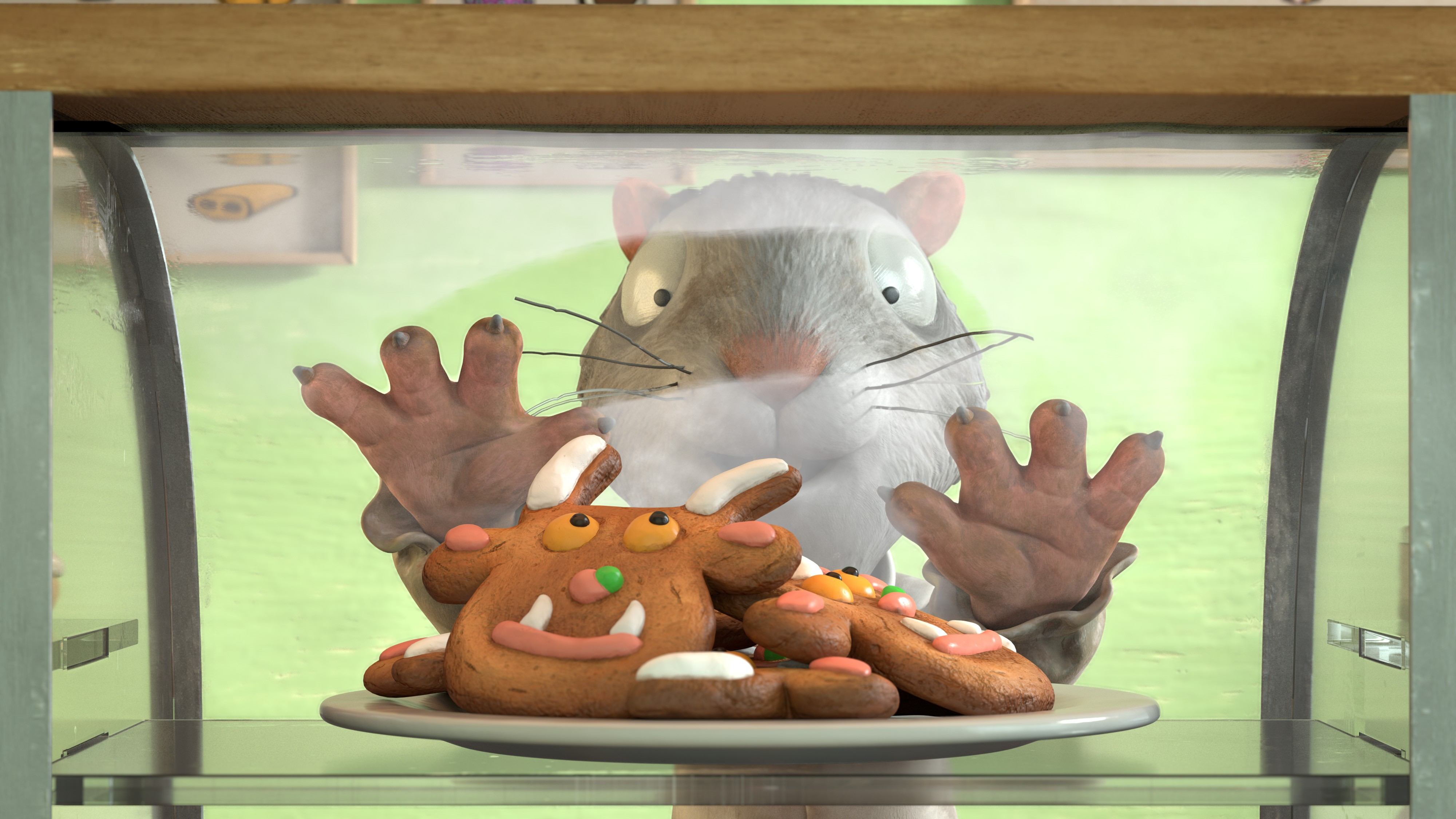 Programme Name: The Highway Rat - TX: n/a - Episode: The Highway Rat (No. n/a) - Picture Shows: Rat with Gruffalo biscuits  - (C) Orange Eyes Ltd  - Photographer: Magic Light Pictures