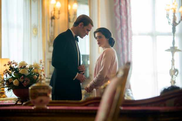 The Crown (L to R) Prince Philip, Elizabeth Elizabeth and Philip discuss Charles' education