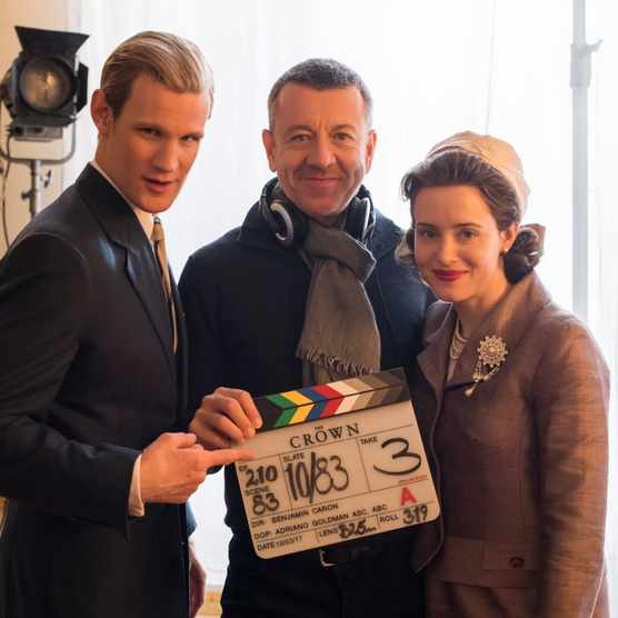The Crown - Matt Smith, Peter Morgan, Claire Foy - Writer/Creator Peter Morgan with Matt Smith (Prince Philip) and Claire Foy (Queen Elizabeth II) (Netflix, TL)