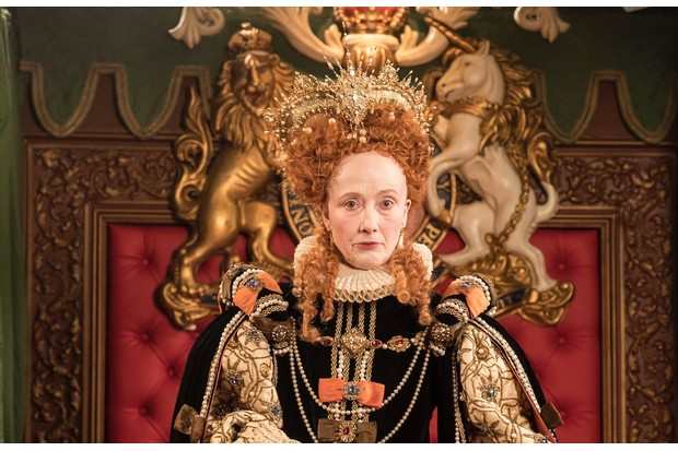 Emma Thompson as Elizabeth 1 in Upstart Crow, BBC publicity shot, BD