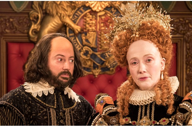 WARNING: Embargoed for publication until 09:00:01 on 05/12/2017 - Programme Name: Upstart Crow - TX: n/a - Episode: A Christmas Crow (No. 7) - Picture Shows: Will (DAVID MITCHELL), Queen Elizabeth (EMMA THOMPSON) - (C) BBC - Photographer: Colin Hutton