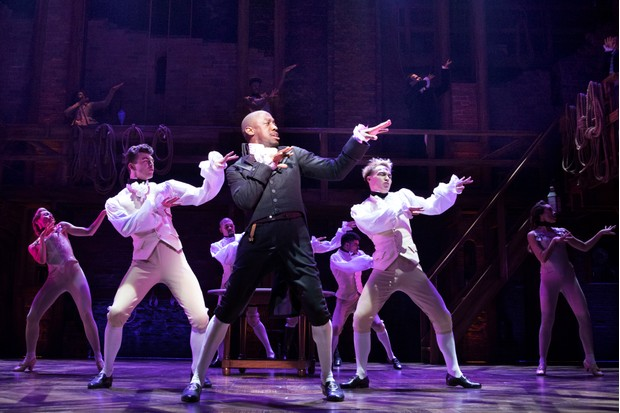 Giles Terera with the West End cast of Hamilton; main picture: Cleve Septembe, Jamael Westman, Jason Pennycooke and Tarinn Callender (photos by Matthew Murphy)