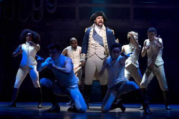 Obioma Ugoala as George Washington with West End cast of Hamilton; above: Jamael Westman as Hamilton (photos by Matthew Murphy)