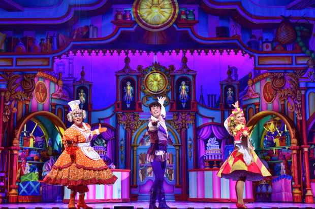l-r Gary Wilmot (Sarah the Cook), Charlie Stemp (Dick Whittington) & Emma Williams (Alice Fitzwarren) - Dick Whittington - Credit Paul Coltas