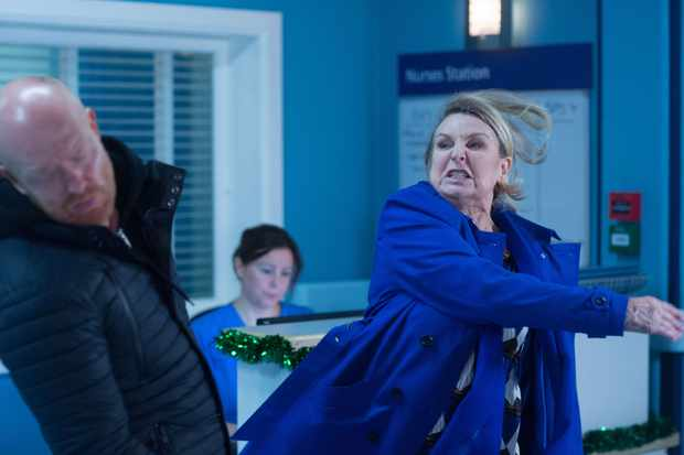 WARNING: Embargoed for publication until 00:00:01 on 30/12/2017 - Programme Name: EastEnders - October-December 2017 - TX: 29/12/2017 - Episode: EastEnders - October-December 2017 - 5627 (No. 5627) - Picture Shows: Cora slaps Max. Max Branning (JAKE WOOD), Cora Cross (ANN MITCHELL) - (C) BBC - Photographer: Jack Barnes