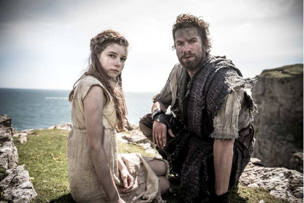 Eleanor Worthington-Cox as Cait and Nikolai Lie Kaas as Divis in Britannia