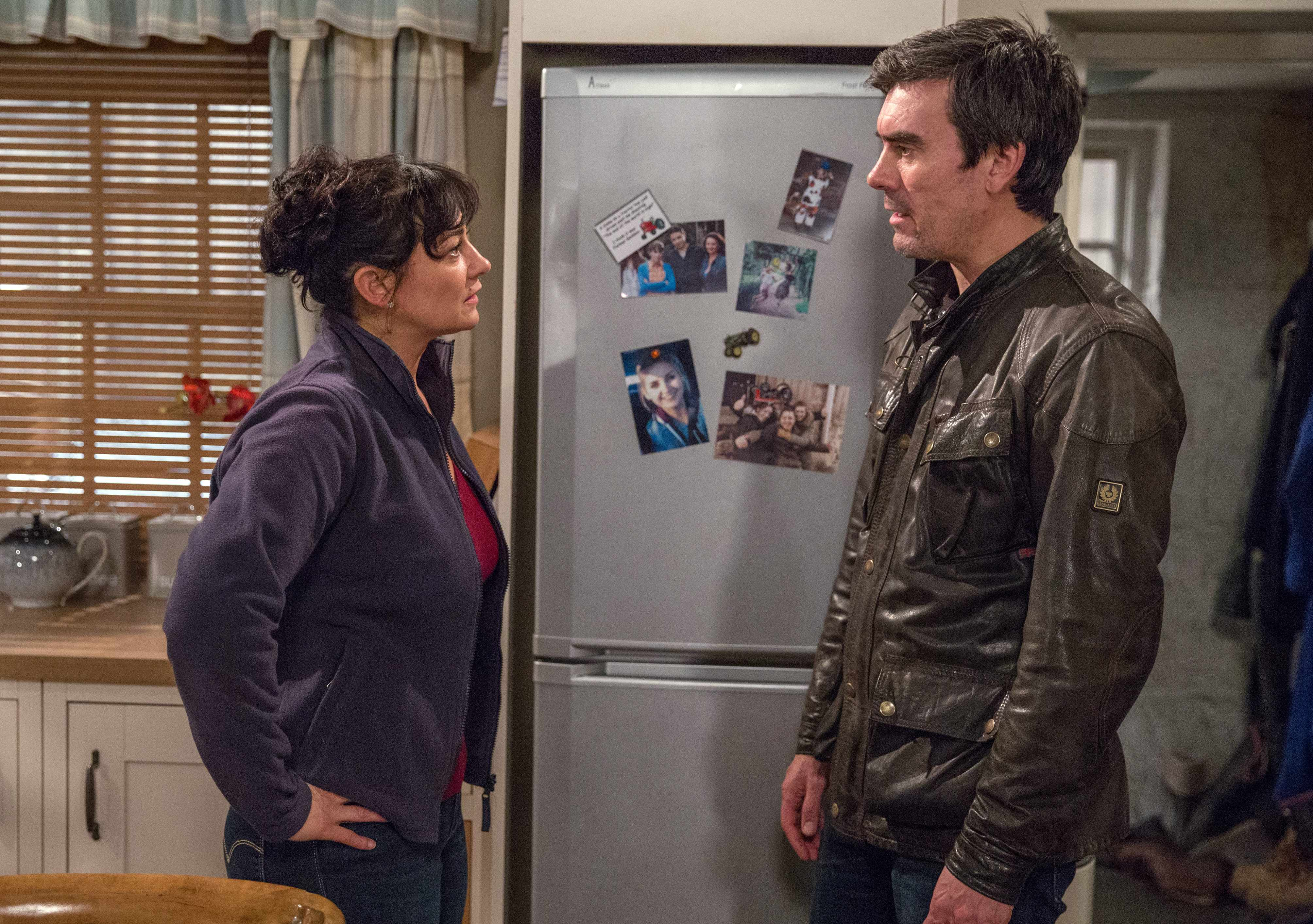 FROM ITV   STRICT EMBARGO  Print media - No Use Before Tuesday 23 January 2018 Online Media -  No Use Before 0700hrs Tuesday 23 January 2018  Emmerdale - Ep 8058  Thursday 1 February 2018 - 1st Ep  Cain Dingle [JEFF HORDLEY] arrives and pleads with Moira Dingle [NATALIE J ROBB] to stay. He tells her to meet him at the bridge at 5pm if she loves him. With that, Cain heads out, leaving Moira frustrated and upset.   Picture contact - david.crook@itv.com  Photographer - Amy Brammall  This photograph is (C) ITV Plc and can only be reproduced for editorial purposes directly in connection with the programme or event mentioned above, or ITV plc. Once made available by ITV plc Picture Desk, this photograph can be reproduced once only up until the transmission [TX] date and no reproduction fee will be charged. Any subsequent usage may incur a fee. This photograph must not be manipulated [excluding basic cropping] in a manner which alters the visual appearance of the person photographed deemed detrimental or inappropriate by ITV plc Picture Desk. This photograph must not be syndicated to any other company, publication or website, or permanently archived, without the express written permission of ITV Plc Picture Desk. Full Terms and conditions are available on the website www.itvpictures.com