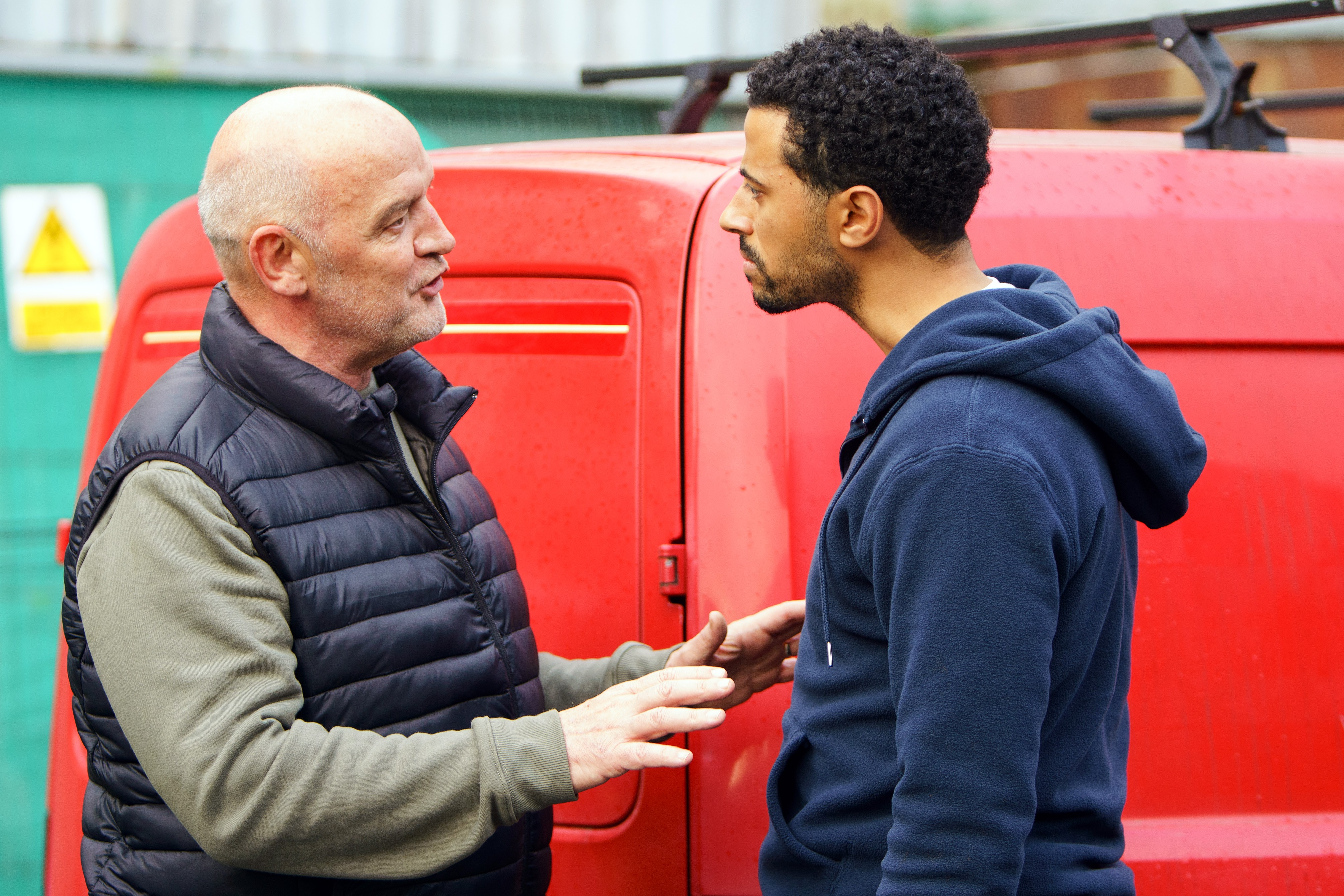 FROM ITV   STRICT EMBARGO  Print media - No Use Before  Saturday 9th December 2017 Online Media -  No Use Before 0700hrs Saturday 9th December 2017  Coronation Street - Ep 9346  Friday 5th January 2018 - 2nd Ep  At the mill, Luke Britton [DEAN FAGAN] quizzes Phelan [CONNOR McINTYRE]. about Andy, convinced he knows more than he's letting on. When Phelan fails to answer Luke's questions, Luke resolves to report Andy missing to the police and tell them all he knows.  Picture contact - david.crook@itv.com  Photographer - Mark Bruce  This photograph is (C) ITV Plc and can only be reproduced for editorial purposes directly in connection with the programme or event mentioned above, or ITV plc. Once made available by ITV plc Picture Desk, this photograph can be reproduced once only up until the transmission [TX] date and no reproduction fee will be charged. Any subsequent usage may incur a fee. This photograph must not be manipulated [excluding basic cropping] in a manner which alters the visual appearance of the person photographed deemed detrimental or inappropriate by ITV plc Picture Desk. This photograph must not be syndicated to any other company, publication or website, or permanently archived, without the express written permission of ITV Plc Picture Desk. Full Terms and conditions are available on the website www.itvpictures.com