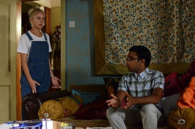 Maddy Hill on EastEnders with co-star Himesh Patel