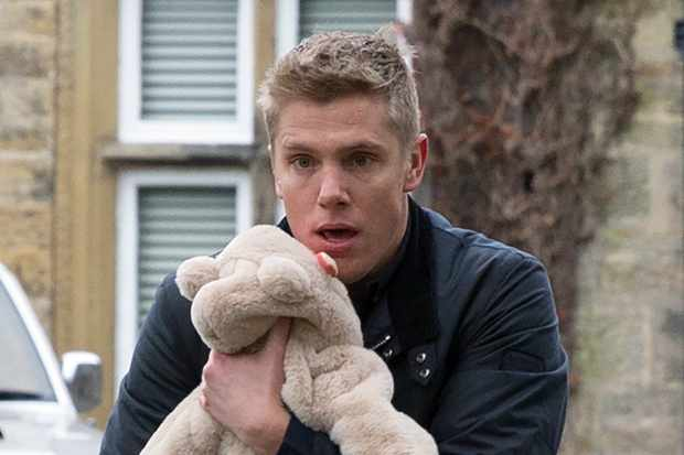FROM ITV   STRICT EMBARGO  Print media - No Use Before Tuesday 2nd January 2018 Online Media -  No Use Before 0700hrs Tuesday 2nd January 2018  Emmerdale - Ep 8040  Thursday 11th January 2018 - 1st Ep  Robert Sugden [RYAN HAWLEY] snatches Seb as the Whites pack the car to leave. He sets off at pace with Seb in his car. The White's frantically take chase  Picture contact - david.crook@itv.com  Photographer - Amy Brammall  This photograph is (C) ITV Plc and can only be reproduced for editorial purposes directly in connection with the programme or event mentioned above, or ITV plc. Once made available by ITV plc Picture Desk, this photograph can be reproduced once only up until the transmission [TX] date and no reproduction fee will be charged. Any subsequent usage may incur a fee. This photograph must not be manipulated [excluding basic cropping] in a manner which alters the visual appearance of the person photographed deemed detrimental or inappropriate by ITV plc Picture Desk. This photograph must not be syndicated to any other company, publication or website, or permanently archived, without the express written permission of ITV Plc Picture Desk. Full Terms and conditions are available on the website www.itvpictures.com