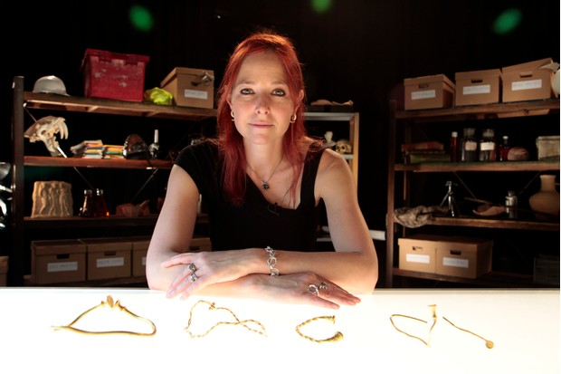 Programme Name: Digging for Britain - TX: n/a - Episode: n/a (No. Generics) - Picture Shows: with golden torcs from the Leekfrith hoard. Professor Alice Roberts - (C) 360Production - Photographer: Production BBC, TL