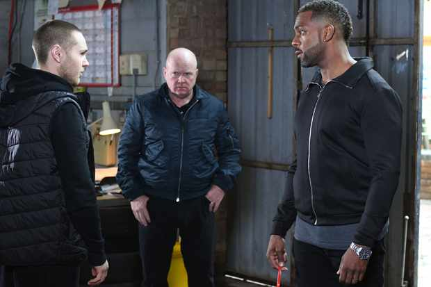 WARNING: Embargoed for publication until 00:00:01 on 30/12/2017 - Programme Name: EastEnders -January-April 2018 - TX: 01/01/2018 - Episode: EaEastEnders - January-April 2018 - 5629 (No. 5629) - Picture Shows: *STRICTLY NOT FOR PUBLICATION UNTIL 00:01HRS SATURDAY 30th DECEMBER 2017*  Mick hasn't turned up. Keanu Taylor (DANNY WALTERS), Phil Mitchell (STEVE MCFADDEN), Vincent Hubbard (RICHARD BLACKWOOD) - (C) BBC - Photographer: Kieron McCarron