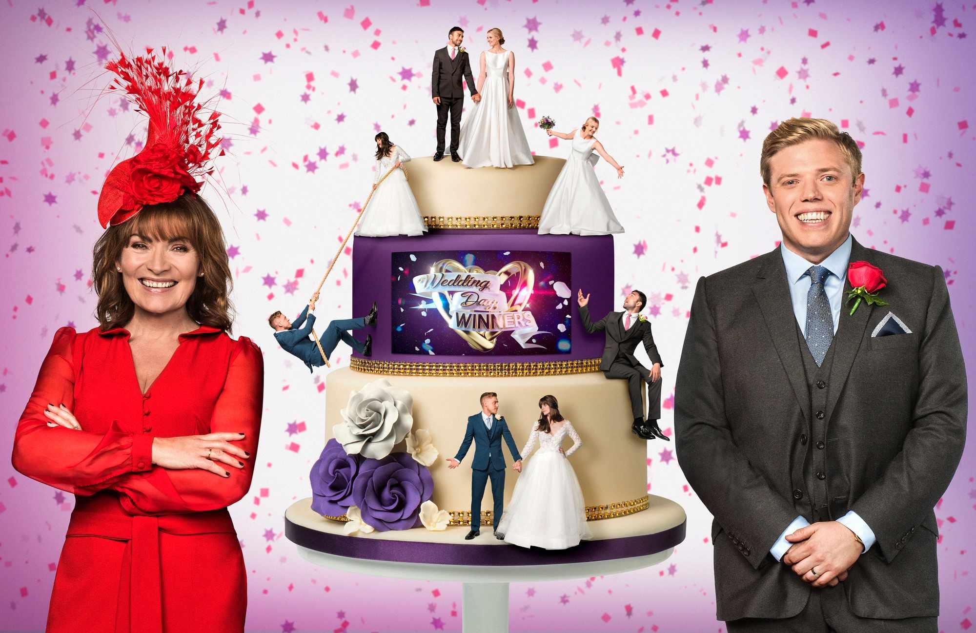 WARNING: Embargoed for publication until 00:00:01 on 27/12/2017 - Programme Name: Wedding Day Winners - TX: n/a - Episode: Wedding Day Winners generics (No. n/a) - Picture Shows:  Lorraine Kelly, Rob Beckett - (C) Panda TV - Photographer: Ray Burmiston (BBC, BA)