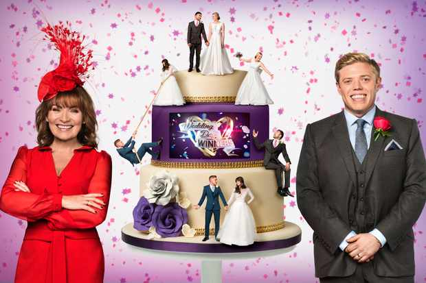 WARNING: Embargoed for publication until 00:00:01 on 27/12/2017 - Programme Name: Wedding Day Winners - TX: n/a - Episode: Wedding Day Winners generics (No. n/a) - Picture Shows:  Lorraine Kelly, Rob Beckett - (C) Panda TV - Photographer: Ray Burmiston (BBC, BA)