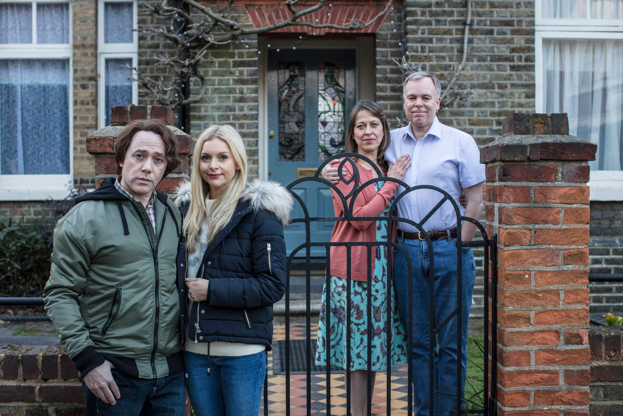 Programme Name: Inside No. 9 Series 4 - TX: n/a - Episode: To Have and to Hold (No. 4) - Picture Shows:  Max (REECE SHEARSMITH), Hannah (MIRANDA HENNESSY), Harriet (NICOLA WALKER), Adrian (STEVE PEMBERTON) - (C) BBC - Photographer: Sophie Mutevelian