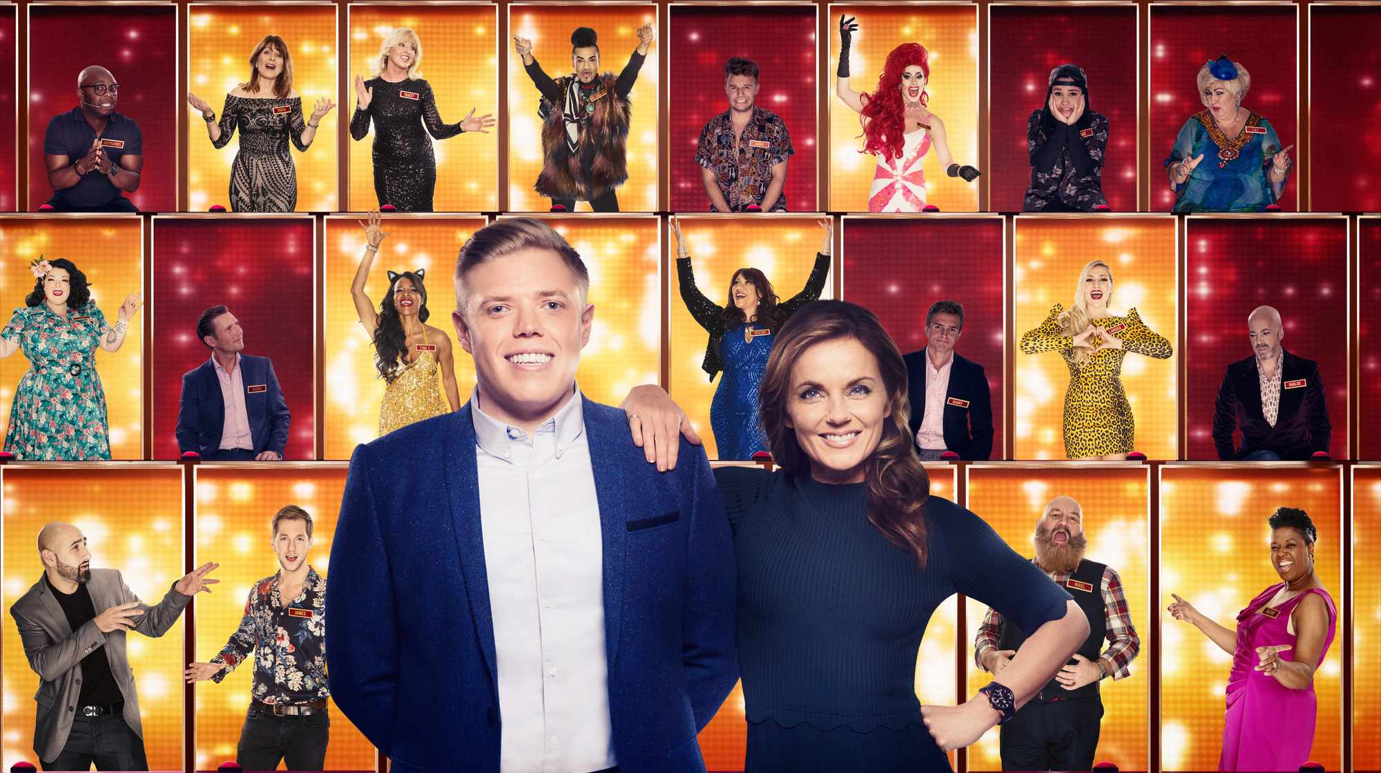 Programme Name: All Together Now - TX: 27/01/2018 - Episode: n/a (No. n/a) - Picture Shows: L-R, Presenter Rob Beckett with Geri Horner, and the 100. Rob Beckett, Geri Horner - (C) Endemol - Photographer: Ray Burmiston (foreground) & Matt Squire (background)